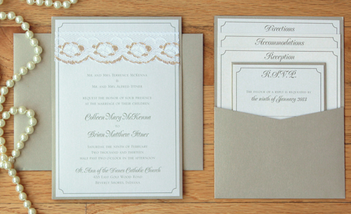 Lace Wedding Invitations – Pocket Cards for Invitations